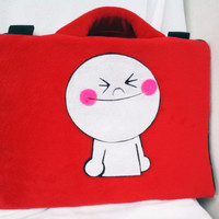 "Moon Line Merah 13-14"" softcase/tas laptop,netbook,notebook lucu"