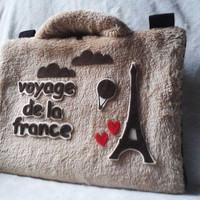 Paris/eiffel cream 10inch softcase/tas laptop netbook,notebook lucu