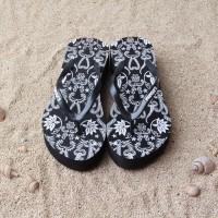 sandal sendal wedges batik mimoys hitam wanita cewe