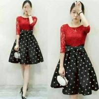 Dress Lace Luna Polka Black