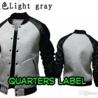 jaket varcity light grey semi kulit Murah
