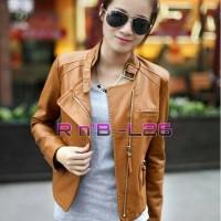 jaket semi kulit wanita style korea Berkualitas