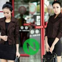 jaket semi kulit wanita style korea Diskon