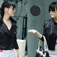 jaket semi kulit wanita style korea Murah