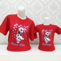 Baju Kaos Natal/Christmas Olaf with Santa Hat/Seragam Sekolah Minggu
