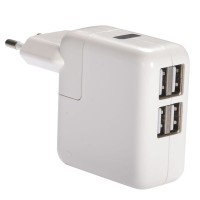USB Charger with LED Charging Display 4 Port - White