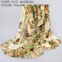 pasmina syal motif bunga blossom scarf fleur pashmina