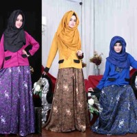 umbrela  blazer set gamis cantik murah realpict batik silk+ wedges