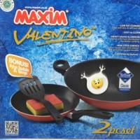 MAXIM VALENTINO SET 2pc WAJAN 30cm FRYPAN 22cm TANPA SPATULA FREE SPON
