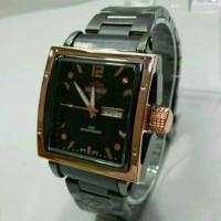 jam tangan herley davidson date/day rantai black rose gold