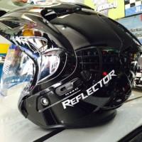 Helm MDS REFLECTOR Black Hitam Double Visor Half Face