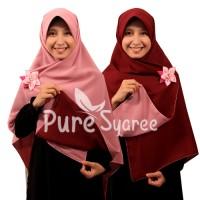 Jilbab syari segi empat Bolak Balik Dusty Pink Maroon