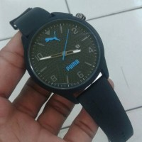 Jam Tangan Puma Atomic Date Kw Super Black Jarum Biru