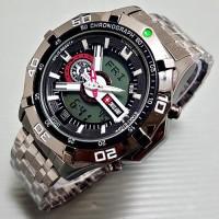 Jam Tangan Pria Swiss Army Dual Time SL6 Rantai Full Black