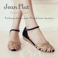 Sepatu sendal murah JEAN FLAT SM82 Flat shoes wanita Coklat ada Gliter