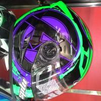Helm MDS Provent Black Green Full Face Double Visor Hulk Avenger