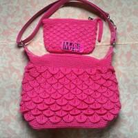 SET tas rajut sisik pink + dompet kipas