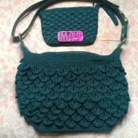 SET rajut tas sisik hijau botol + dompet kipas
