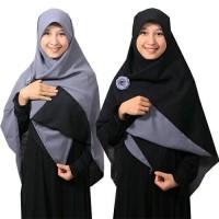 Jilbab syari segi empat Bolak Balik Hitam-Abu