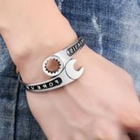 Gelang Pria Exclusive Mechanical Bangle Bracelet Titanium Steel Silver