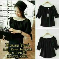 blouse hitam kerah sabrina
