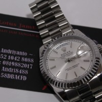 Jam Tangan Replika Rolex Daydate White Dial on White Gold