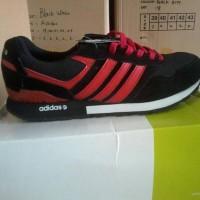 Sepatu Adidas New Neo Black Red Hitam strip Merah Running Jogging