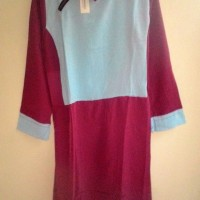 Atasan Blus Blouse Dress Panjang Kombinasi Biru Telor Asin Merah Fanta