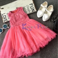 Sequin tutu dress / baju anak gaun korea pink