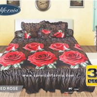 Sprei Rumbai California 3D Red Rose UK 180X200