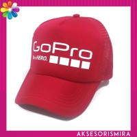 Topi GoPro Trucker Lengkung Merah Full