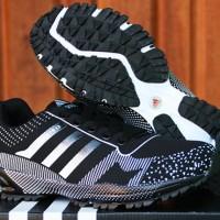 Sepatu Adidas Marathon 13 Hitam Putih (Nike,Fitnes,Running,Olahraga)