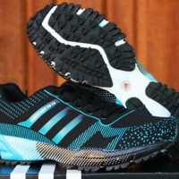Sepatu Adidas Marathon 13 Hitam BiruMuda(Nike,Fitnes,Running,Olahraga)