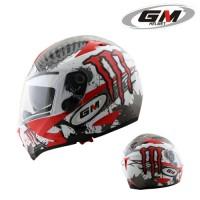 Helm GM Airbone Airborne Full Face Monster Visor Motif Red