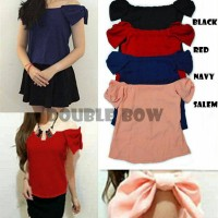 Double Bow Sabrina Top bangkok baju grosir import