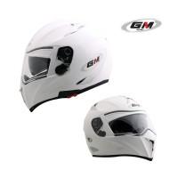 Helm GM Airborne White Airbone Visor Full Face Putih Solid