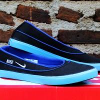 Nike Flat Hitam Biru (sepatu wanita,sepatu kets,slip on,casual)