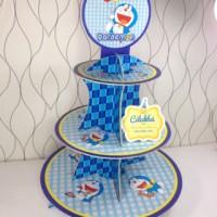 cupcake stand doraemon / cupcake 3 tier doraemon cilukba party