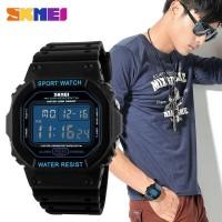 jam tangan pria / cowok original model casio 1134 Skmei hitam biru