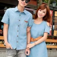 Kemeja Dress Couple Agnesia Denim Trend Fashion
