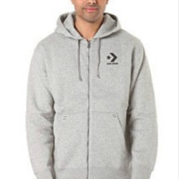 Jaket Zipper Sweater Converse abu abu