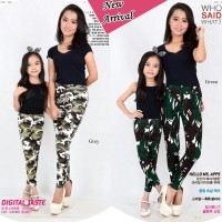 SB Army Mom & Kids legging bhn soft jeans (Mom fit to L, Kids fit to a