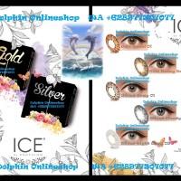 Softlens X2 Exoticon Ice Silver Gold Free Cairan Bisa Minus
