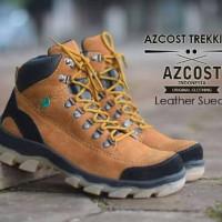 Sepatu safety boot Azcost tracking kulit suede tan (ujung baja besi)