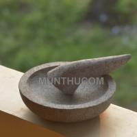 Cobek Batu Kali Pori Bulat 18cm + Ulekan