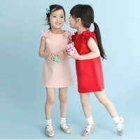 dress korea anak balita kids flower red merah