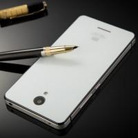 Aluminium Tempered Glass Hard Case for Xiaomi Redmi Note 2 - Silver