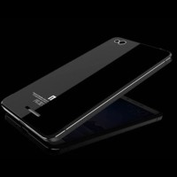 Aluminium Tempered Glass Hard Case for Xiaomi Redmi 3 - Black/Black