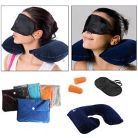 Inflatable Travel Pillow Bantal Leher & Tas Travel Cloth Bag & Earplug