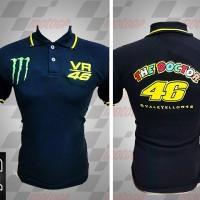 Jual kemeja,kaos kerah, Kaos polo Racing MotoGP Valentino Rossi Hitam
